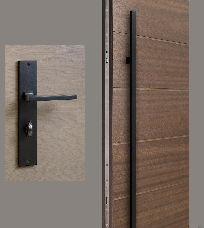 HDWR-EURO-SET-RECTANGULAR-71-SINTESI-Black - Door Hardware