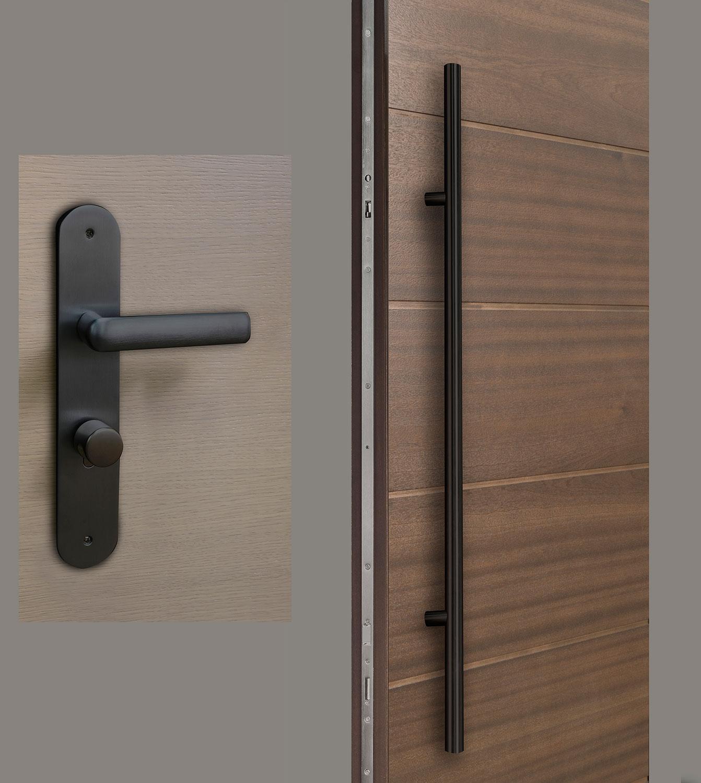 HDWR-EURO-SET-ROUND-48-STRIP-Black - Door Hardware