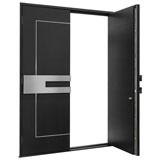 DB-ALU-L7-DD_Wood-Aluminum-Matte-Black_CST - Solid Wood Front Door Close-up 0
