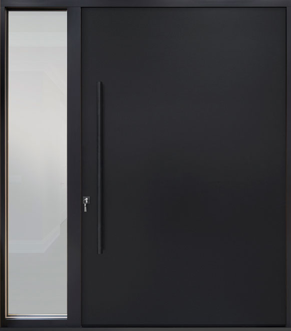 Aluminum Front  Door Example - Single with 1 Sidelite, Exterior Aluminum Clad, Euro Technology with Exterior Aluminum Shield