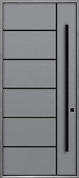 Custom Aluminum Front  Door Example, Exterior Aluminum Clad-Matte Light Gray ALU-B1B_Wood-Aluminum-Matte-Light-Gray