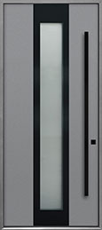 Custom Aluminum Front  Door Example, Exterior Aluminum Clad-Matte Light Gray ALU-F4B_Wood-Aluminum-Matte-Light-Gray
