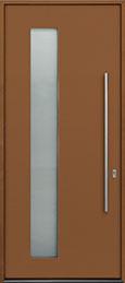 Custom Aluminum Front  Door Example, Exterior Aluminum Clad-Matte Ochre Brown ALU-G5_Wood-Aluminum-Matte-Ochre-Brown
