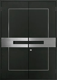 Custom Aluminum Front  Door Example, Exterior Aluminum Clad-Matte Black DB-ALU-L7 DD CST