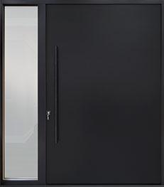 Custom Aluminum Front  Door Example, Exterior Aluminum Clad-Matte Black DB-PVT-ALU-A1-1SL24 60x96 CST