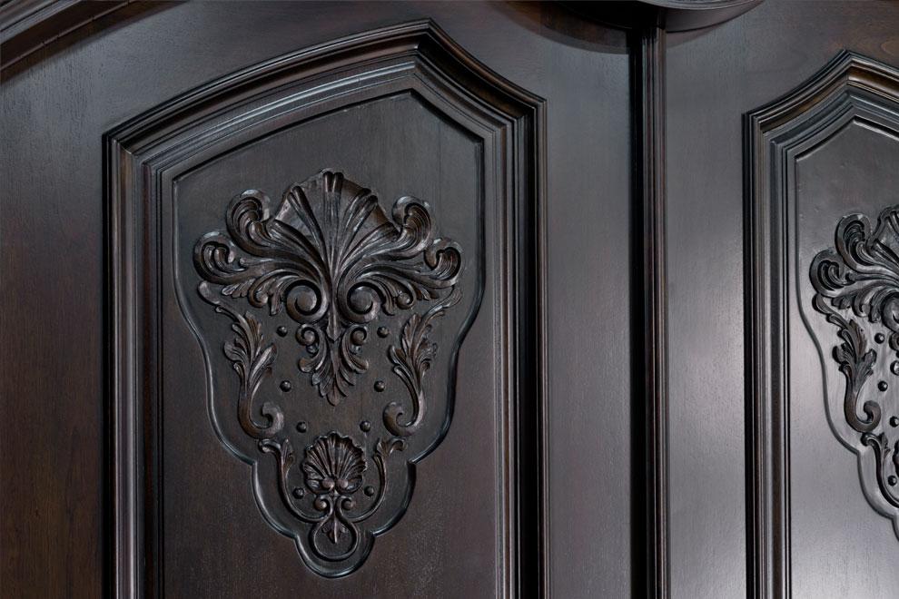 Front door custom double solid wood with espresso for Solid wood exterior back doors