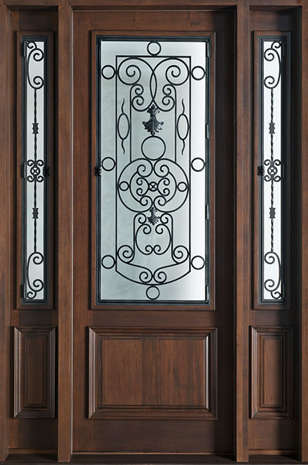 Heritage Mahogany Wood Front Door - Single with 2 Sidelites - DB-552G 2SL CST