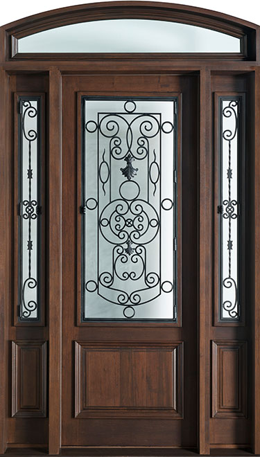 Heritage Mahogany Wood Front Door - Single with 2 Sidelites - DB-552G 2SL TR CST