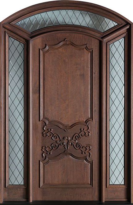 Heritage SpanishCedar Wood Front Door - Single with 2 Sidelites - DB-H000DG SR F CST