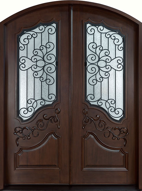 Heritage Mahogany Wood Front Door - Double - DB-H000 DD F CST