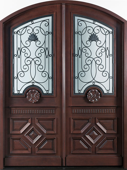 Heritage Mahogany Wood Front Door - Double - DB-H002A DD F CST