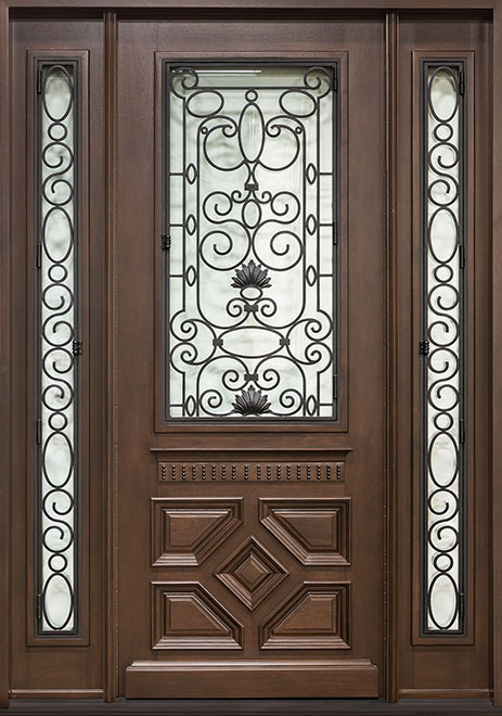 Heritage Mahogany Wood Front Door - Single with 2 Sidelites - DB-H002 2SL CST