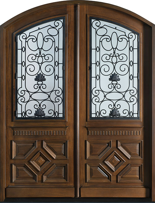 Heritage Mahogany Wood Front Door - Double - DB-H002 DD F CST