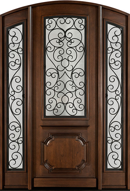 Heritage Mahogany Wood Front Door - Single with 2 Sidelites - DB-H003 2SL F CST