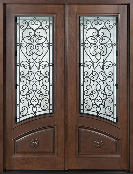 Heritage Mahogany Wood Front Door - Double - DB-H003 DD S CST
