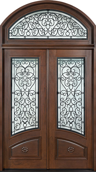 Heritage Mahogany Wood Front Door - Double - DB-H003 DD S TR CST