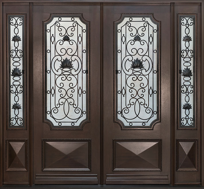 Heritage Mahogany Wood Front Door - Double with 2 Sidelites - DB-H004 DD 2SL CST