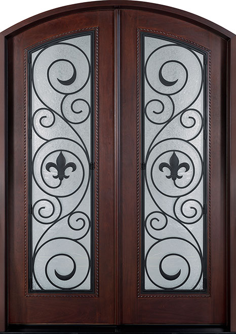 Heritage Mahogany Wood Front Door - Double - DB-H004 DD F CST