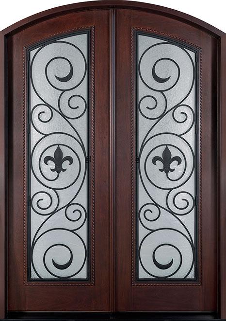 Heritage Mahogany Wood Front Door - Double - DB-H004 DD F CST