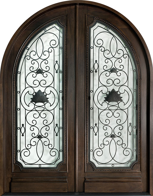 Heritage Mahogany Wood Front Door - Double - DB-H004 DD R CST