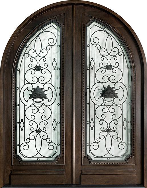 Heritage Mahogany Wood Front Door - Double - DB-H004 DD R CST