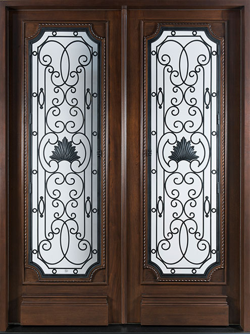 Heritage Mahogany Wood Front Door - Double - DB-H004 DD S CST