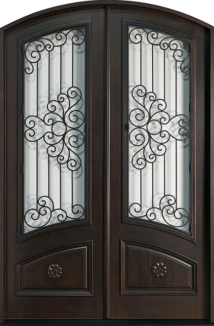 Heritage Mahogany Wood Front Door - Double   - DB-H005 DD F CST