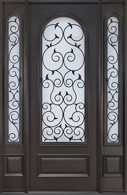 Heritage Mahogany Wood Front Door - Single with 2 Sidelites - DB-H007 2SL CST
