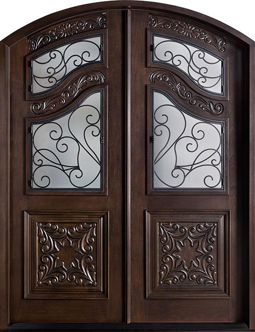 Heritage Mahogany Wood Front Door - Double - DB-H009B DD F CST