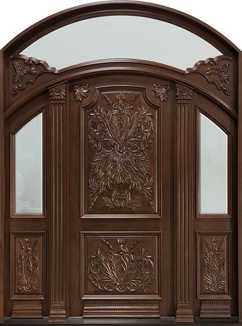 Heritage Mahogany Wood Front Door - Double - DB-H009 2SL F TR CST