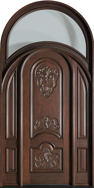 Heritage Mahogany Wood Front Door - Single with 2 Sidelites - DB-H010 2SL R CST