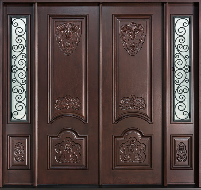 Heritage Mahogany Wood Front Door - Double - DB-H010 DD 2SL S CST