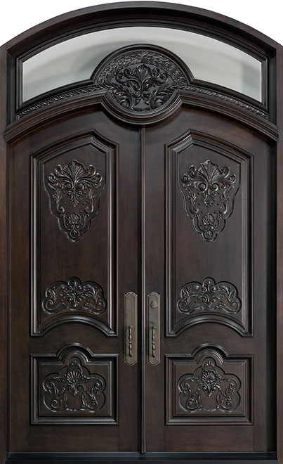 Heritage Mahogany Wood Front Door - Double - DB-H010 DD F CST