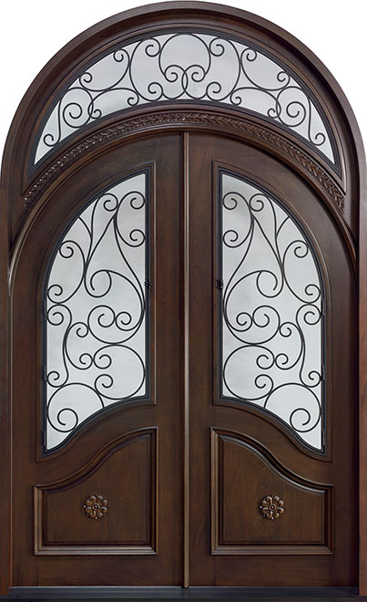 Heritage Mahogany Wood Front Door - Double - DB-H010 DD R CST