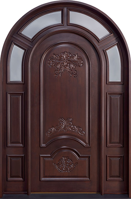 Heritage Mahogany Wood Front Door - Single with 2 Sidelites - DB-H010 SGL SL CST