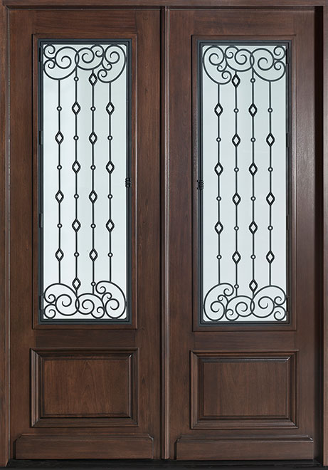 Heritage Mahogany Wood Front Door - Double - DB-H011 DD S CST