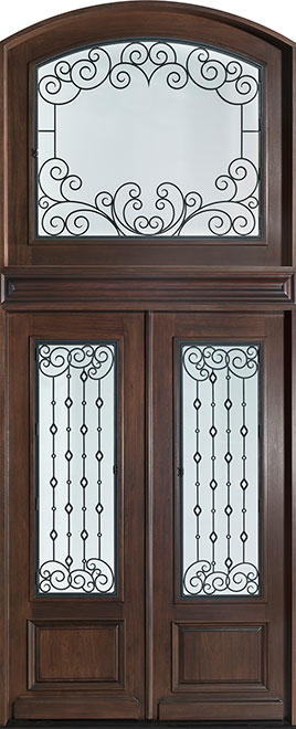 Heritage Mahogany Wood Front Door - Double - DB-H011 DD S TR-A CST