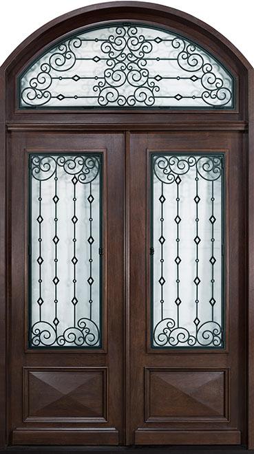 Heritage Mahogany Wood Front Door - Double - DB-H011 DD S TR CST