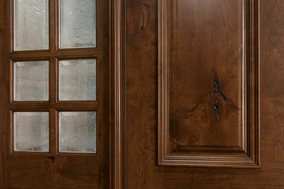 Front door custom single with 2 sidelites solid wood for Natural wood front door