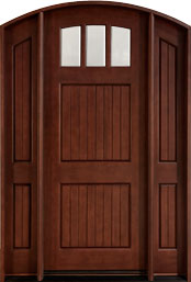 DB-245 2SL CST Mahogany-Medium Mahogany  Wood Front Door - Single with 2 Sidelites