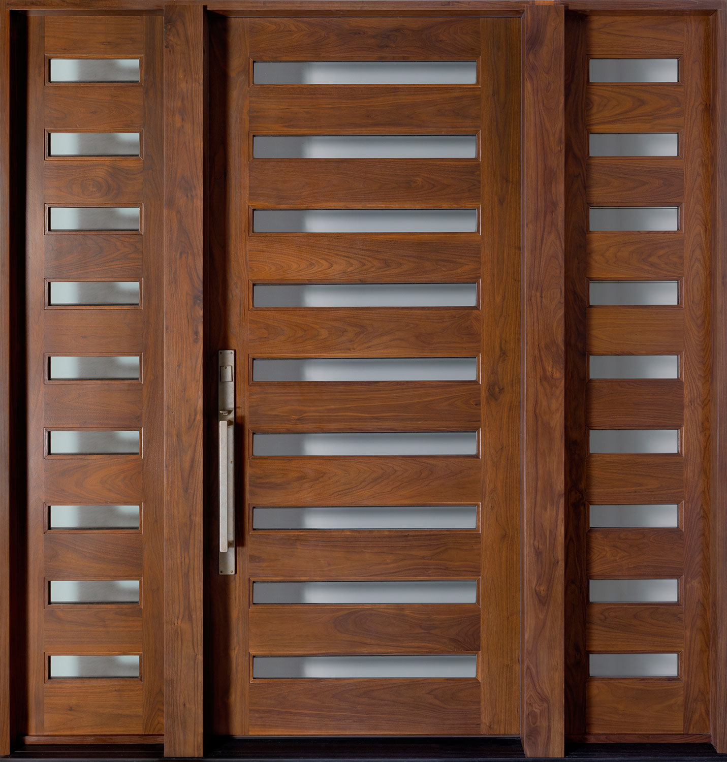 Modern American Walnut Wood Front Door  - GD-004 2SL CST