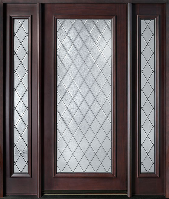 Diamond Mahogany Wood Front Door - Single with 2 Sidelites - DB-001DG 2SL