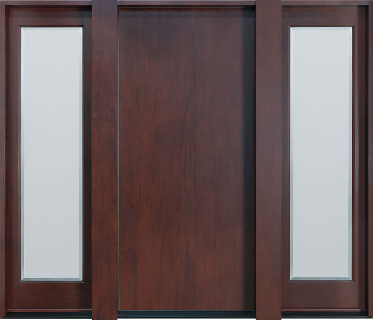 Modern Mahogany Wood Front Door - Single with 2 Sidelites - DB-001F 2SL CST