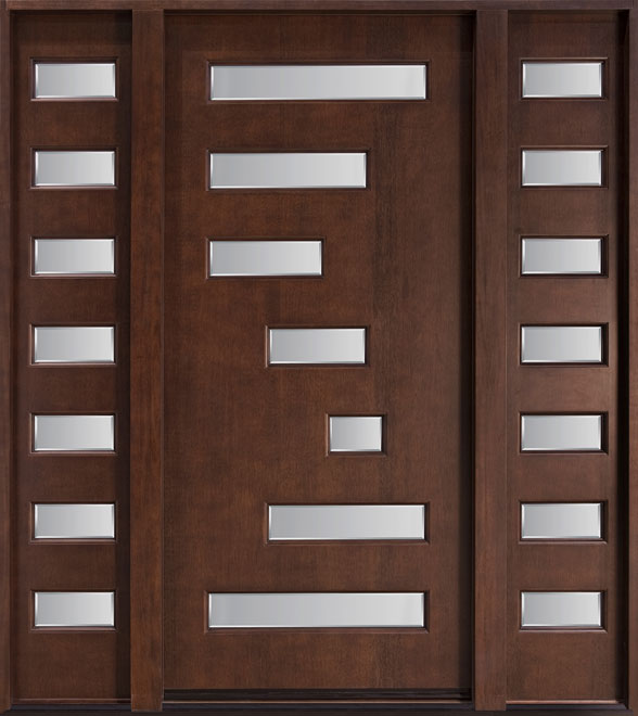 Modern Mahogany Wood Front Door - Single with 2 Sidelites - DB-001-2SL CST