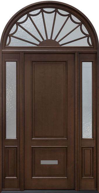 Classic Rift-Cut Oak Wood Front Door - Single with 2 Sidelites w/ Transom - DB-002PT 2SL TR CST