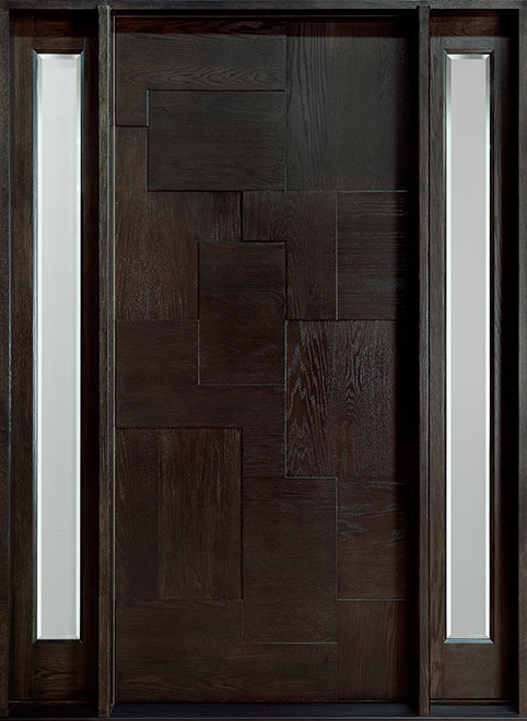 Modern Mahogany Wood Front Door - Single with 2 Sidelites - DB-002 2SL CST