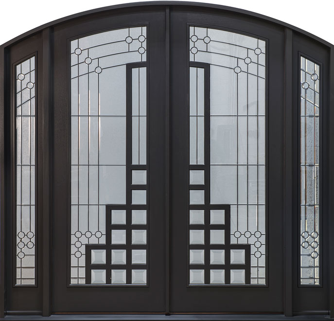 Modern Mahogany Wood Front Door - Double with 2 Sidelites - DB-003 DD SL CST
