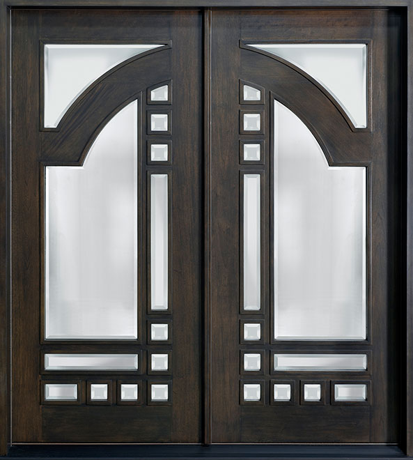 Modern Mahogany Wood Front Door - Double - DB-003 DD CST