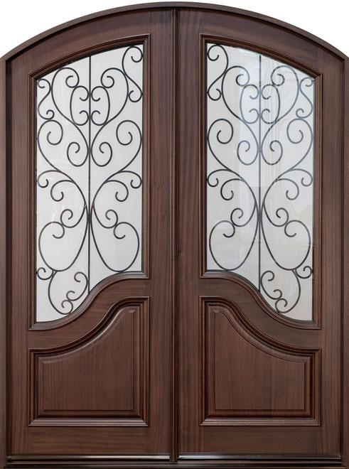 Classic Mahogany Wood Front Door - Double - DB-005A DD CST