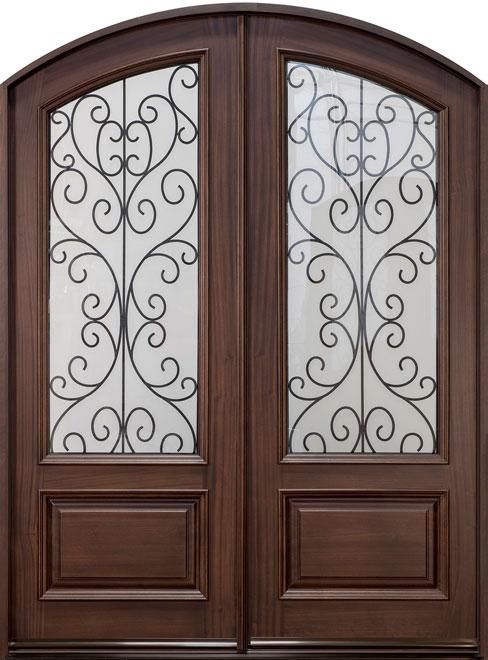 Classic Mahogany Wood Front Door - Double - DB-005B DD CST
